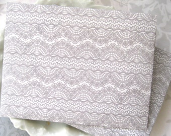 White and gray Handmade Envelope Lacy pattern pale gray announcement RSVP QTY 25- A2 size Envelopes 4-3/8 x 5-3/4 in envelopes Square flap