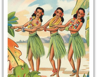 12in x 18in Vintage Hawaiian Art Poster Print - Aloha Nui Loa from Hawaii Hula Girls - PRTB1210