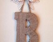 Monogram Jute Letter and Chevron Burlap Bow- Monogram Wedding  Door  Wreath- Chevron  Door Wreath- Monogram Nursery Initial Jute Wrapped-