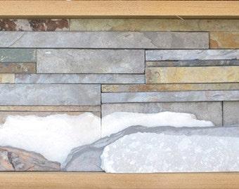 Handmade Natural Stone Shadowbox Wall Sculpture