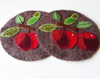 Handmade Wool Apples & Tweed Mug Mats