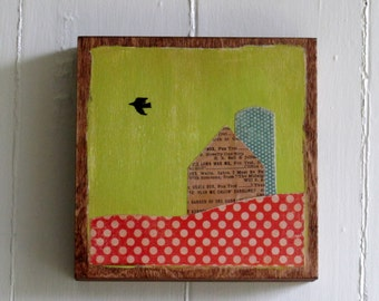 Hand Painted, Decoupage Art Block 6x6 Polka Dot Barn and Silo, Crow in Sky