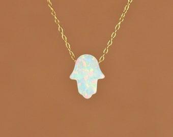 Hamsa necklace - opal hamsa necklace - good luck charm - hand of god - blue hamsa - pink opal - gold hamsa necklace - silver hamsa necklace