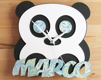 Personalized Handmade Wood Panda Wall Clock