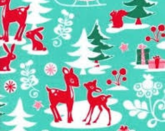Yule Critters in Aqua fabric by Michael Miller