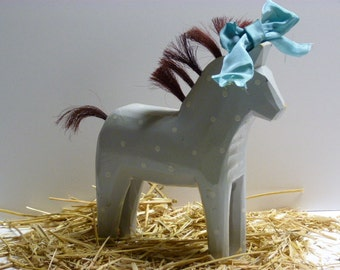 Vintage carved wood horse / wood horse / horse / hand painted wood horse / pony / carved wood pony / wild hair day pony / party pony /