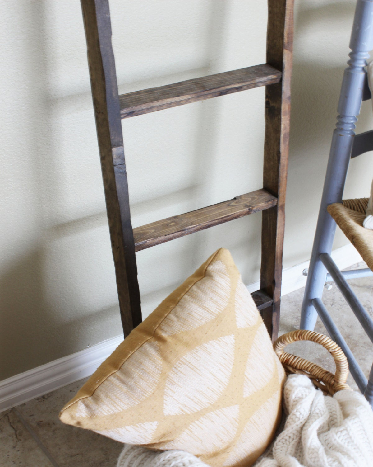 Ladder Rustic decorative ladder square rungs blanket Ladder