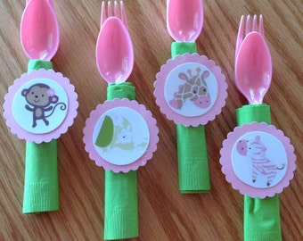 12 Jungle Jill Monkey Baby Shower Decorations, Napkin with fork and spoon