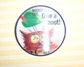 Woodsy Owl Says Give A Hoot Don't Pollute Flicker Pinback Button Vari-Vue Pin Back