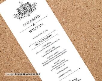 Wedding Menu Template Printable Wedding Dinner Menu, Editable Wedding Menu Card, Printable Template, Printable Menu   2300