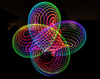 """Skittles Rainbow (Ombre) LED Hula Hoop collapsible 3/4"""" or 5/8"""" -Free Grip Tape-"""