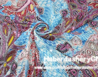 Chiffon 1m CH2A Beautiful Paisley Flower Design Fabric Yardage Fashion