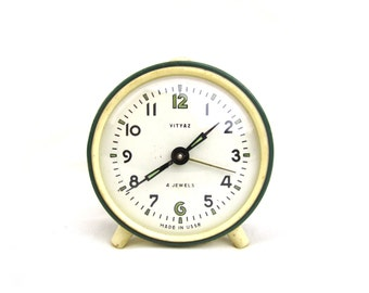VITYAZ - Vintage Green Mechanical Alarm Clock - from Russia / Soviet Union / USSR