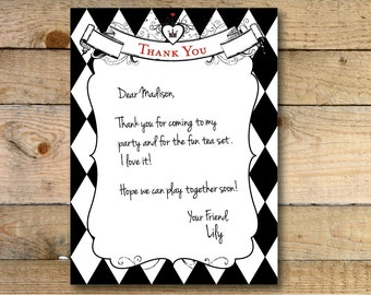 Alice in Wonderland Flat Thank You Card - Printable