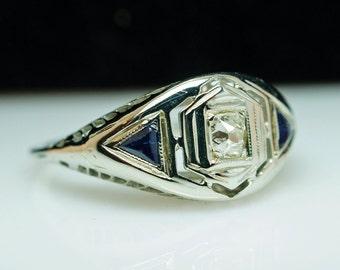Vintage Late Edwardian Platinum Old Mine Cut Diamond & Sapphire Ring - Size 6.5 - Free Sizing - Layaway Available