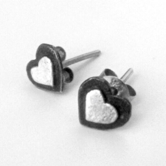 Heart ear studs Sterling silver