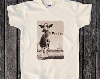 Kids T Shirt  - It Wasn't Me - Cow - Farm - Animal - Innocent