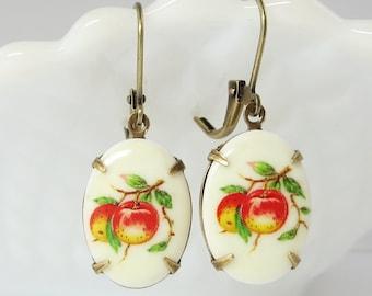 Peach Peaches Earrings Dangles Fruit Earrings Fruit Ear Dangles Spring Summer Earrings Vintage Milk Glass Jewelry Shabby Chic Retro Jewelry