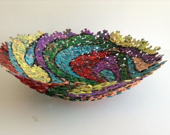 Large, Multi Colored, Hand Painted jigsaw Puzzle Bowl