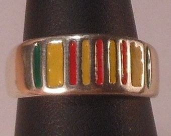 Sterling Silver Military Ring with low temp enamel
