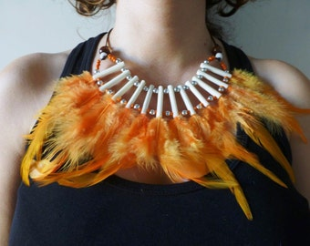 J6-Orange sunset Feather Necklace
