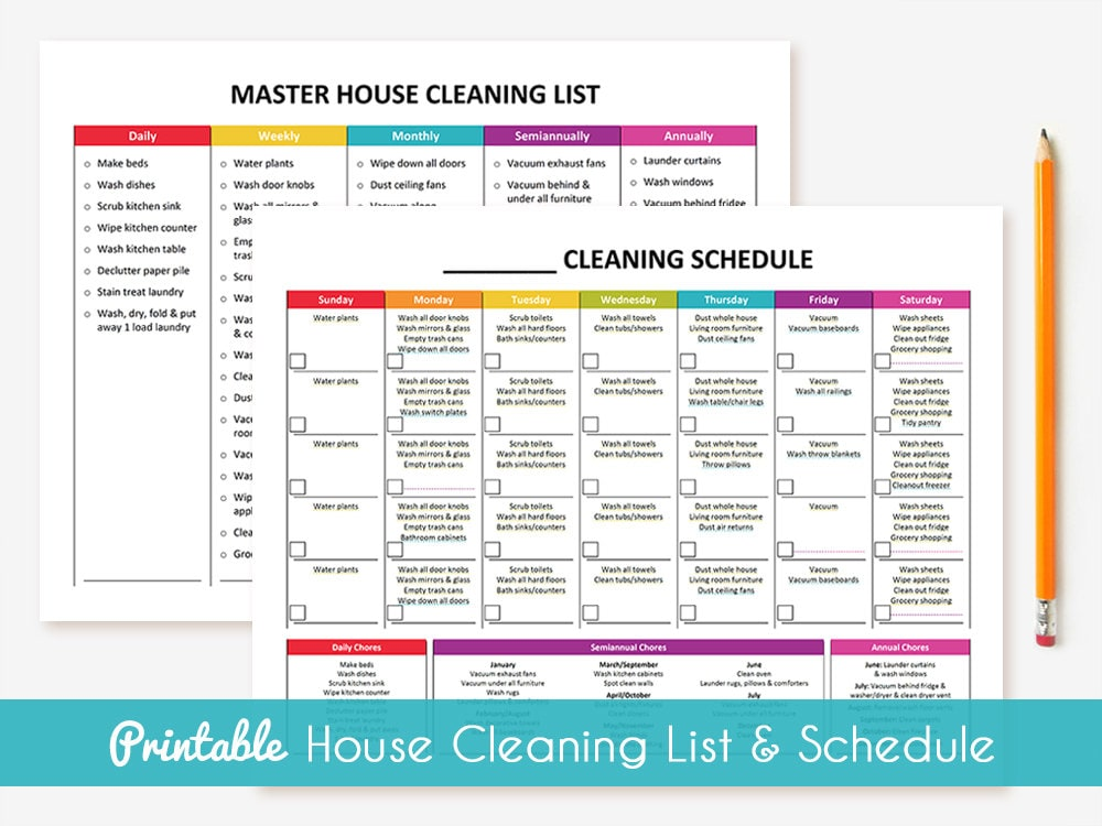 printable cleaning schedule master house cleaning list