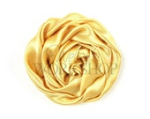 "Gold - Set of 3 Large 3"" Rolled Satin Flowers - RSF-021"