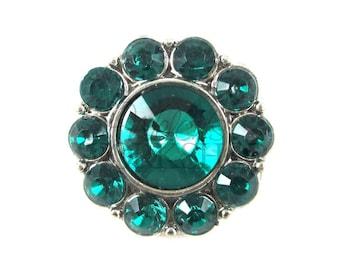 Emerald Green - Set of 3 Acrylic 25mm Rhinestone Buttons - AB-092