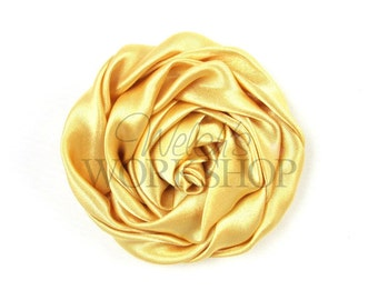 "Gold - Set of 2 Large 3"" Rolled Satin Flowers - RSF-021"