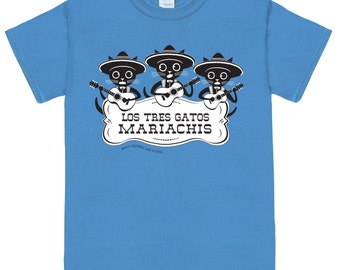 MARIACHI CATS on Blue Unisex Graphic Cat Tee Shirt