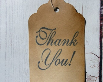 Primitive Hang Tag Thank You script rustic Gift tag Craft supply set 25 tags pre strung