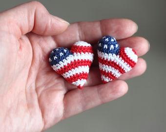 Crochet heart Christmas home decor Stars and stripes American flag heart brooch pin crochet heart Patriotic gift blue red white