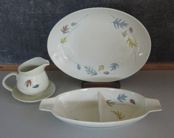 """Franciscan Ware """"Autumn"""" Pattern Made in USA Serving Platter,Divided Bowl with Handles, Gravy Boat on Tray"""