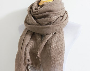Taupe Knitted Scarf, Cozy Winter Scarf, Chunky Scarf, Warm Knitted Scarf, Large Knit Scarf, Christmas Gift, For Her, For Women, For Men
