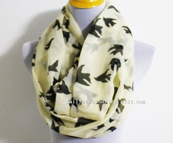 Bird Scarf Beige Bird Infinity Scarf Black by Dailyaccessoriez - Casual Collage Bags For Womens