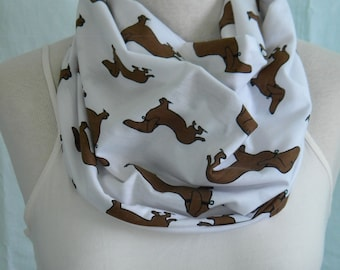 The Dachshund Infinity Scarf - Brown & White Dog Jersey Knit Cowl -