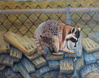 Raccoon Oil on Canvas Original Painting