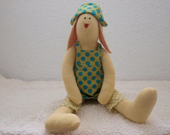 Handmade  stuffed bunny toy , a child's best friend, soft , baby shower gift.