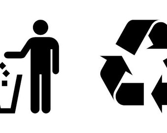 Trash / Garbage Can and Recycle / Recycling Bin Vinyl Decal Labels