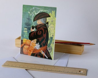 Postcard - Seaman, a copy of the original drawing on paper