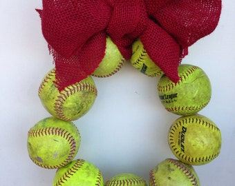 Burlap Softball Wreath