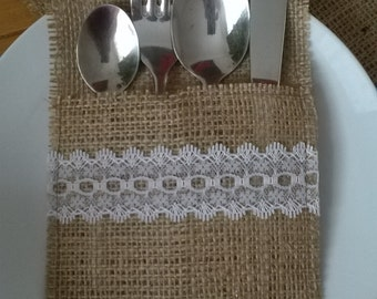 120 Burlap Silverware Holders with White Lace , Rustic Wedding