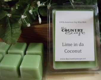 Lime in da Coconut Scented 100% Soy Wax Clamshell Melt - Crisp and Smooth- Maximum Scented