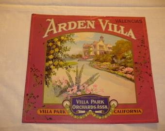 Arden Villa Crate Label 1930's Very Rare