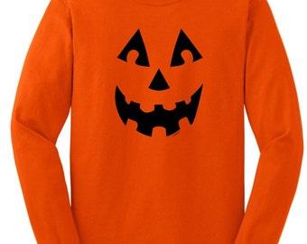 Jack O'Lantern Pumpkin Face Halloween Long Sleeve T-Shirt 2400 -  HW-127T
