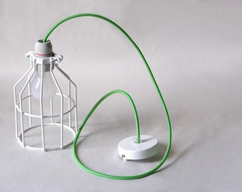 Industrial Lighting, wire Cage, Green cloth cord