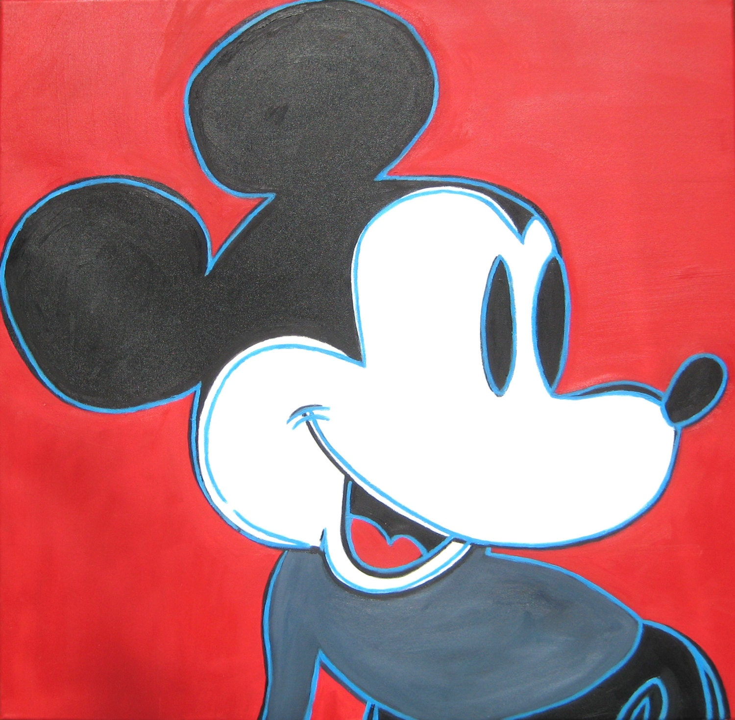 After Andy Warhol's Mickey Mouse Original Oil Painting