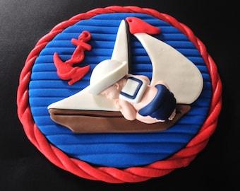 Fondant edible baby nautical sailor cake topper