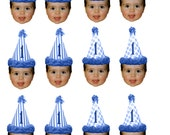 DIY Circus birthday hat photo cupcake toppers using 2 hats..