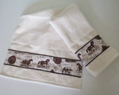 Horse Breeds Hand Towel - Choice of Color Shell(Off White) or Chocolate Brown